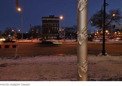 The United Way sound stick installation by Jacqueline Metz & Nancy Chew.