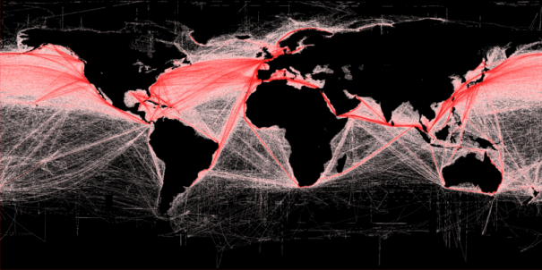 Relative density of commercial shipping in the world's oceans. Photo by Grolltech