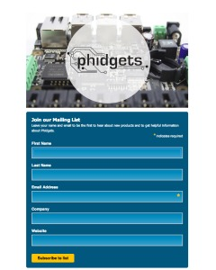 The Phidgets newsletter signup form