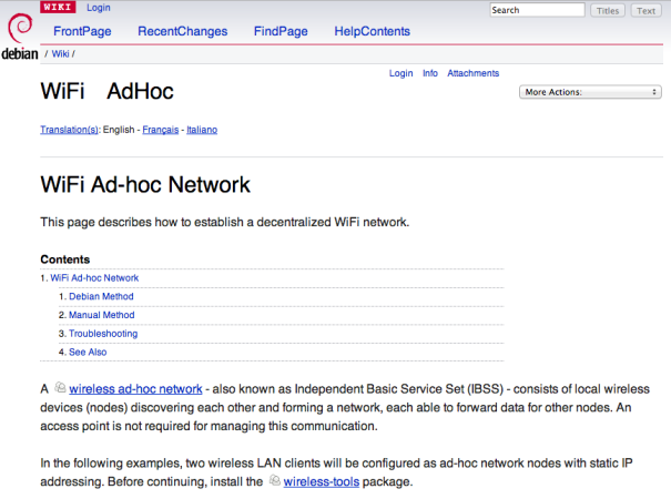 Debian instructions for setting up an ad-hoc network