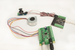 An Interface Kit with Joystick, and a Stepper Motor