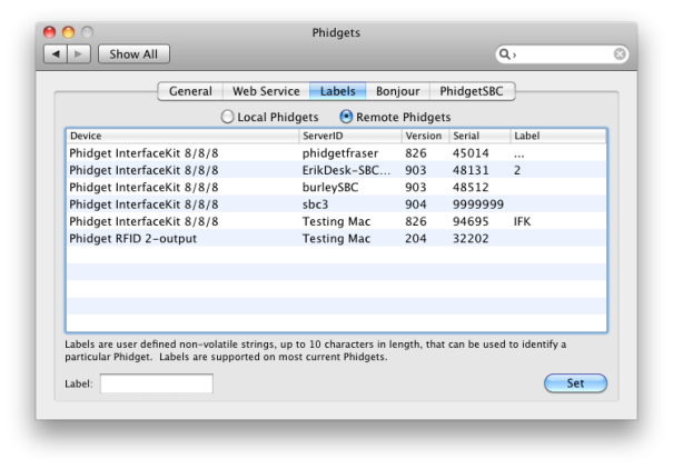OSX Phidgets Control Panel Labels